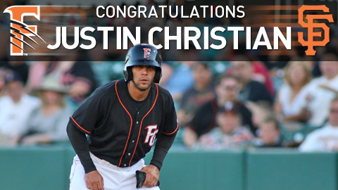 The Grizzlies congratulate Justin Christian, whose contract the Giants purchased Tuesday.