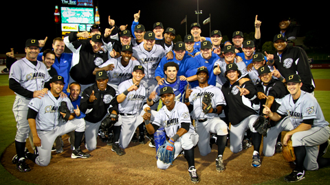 The Storm Chasers celebrate after winning the 2011 PCL Championship.