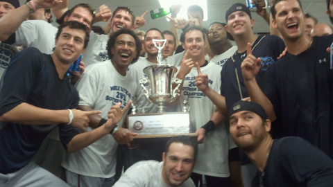 The BayBears celebrate their first outright title since 1998.