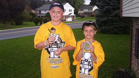 Creators of Autographs 4 Alopecia, Blake(left) and Gavin(right) show off items received by the ValleyCats.