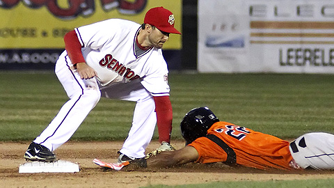 Steve Lombardozzi tags out Pedro Florimon of Bowie on an attempted steal.