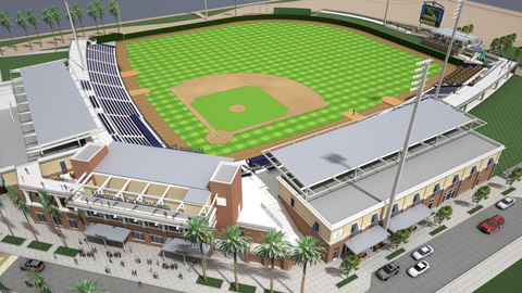 Brand-new Maritime Park Stadium will boast idyllic views of Pensacola Bay and the Gulf of Mexico.