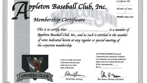 An example of a Stock Certificate for Appleton Professional Baseball.