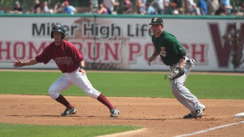 Nick Shaw takes a lead from first base during a 2011 game against the Clinton LumberKings.