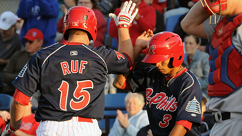 Darin Ruf hit a two-run home run in the first inning to lead the R-Phils over the IronPigs 7-6.