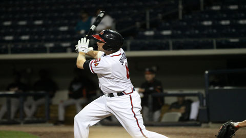 Drew Sutton's walk-off double delivered the 4-3 win for Gwinnett. (Daniel Hamby)