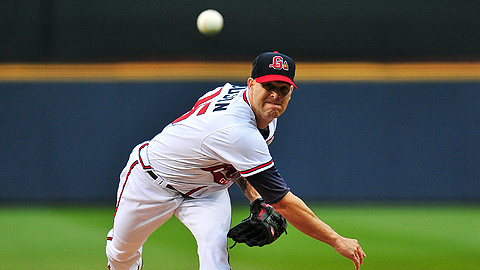 Braves' right-hander Tim Hudson earned the win in his rehab start on Wednesday night. (Kyle Hess)