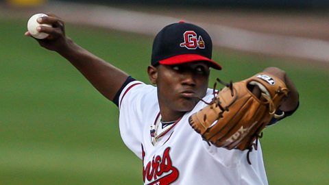 Julio Teheran has not been scored upon in his last two starts, 10.2 innings. (Karl Moore)