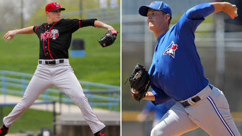 Aaron Sanchez (left) and Justin Nicolino have allowed eight combined hits in 18 innings.
