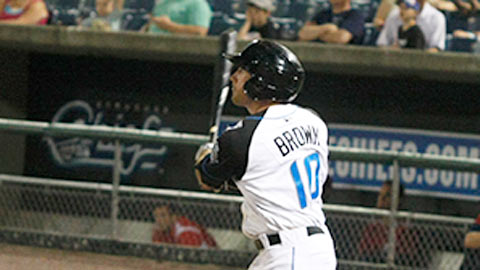 Corey Brown homered for the fifth straight game on Friday night.