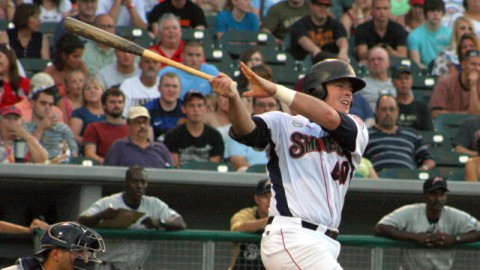 Justin Bour leads the Southern League with 52 RBIs in his 65 games in 2012.