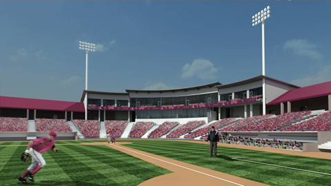 An artist's rendering of the view of a renovated Time Warner Cable Field at Fox Cities Stadium from the field.