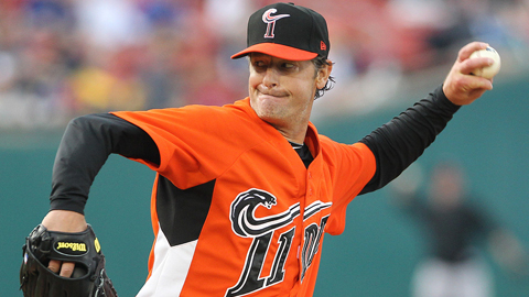 Jamie Moyer faced three batters over the minimum in his Triple-A season debut.