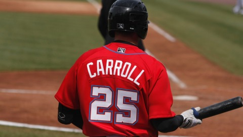 Brett Carroll hit his fourth home run of the season against the Yankees on Sunday.