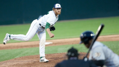Former Tigers RHP Drew Gagnier is now pitching for the Vermont Lake Monsters.