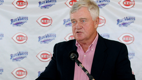 Reds owner Bob Castellini speaks at Tuesday's press conference.