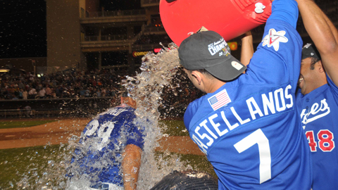 PCL Manager of the Year Lorenzo Bundy gets doused.