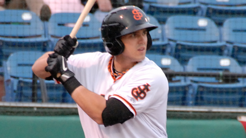 No. 15 Giants prospect Adam Duvall batted .258 with 254 total bases this season.