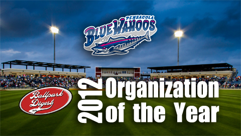 Ballpark Digest named the Blue Wahoos the 2012 Organization of the Year.