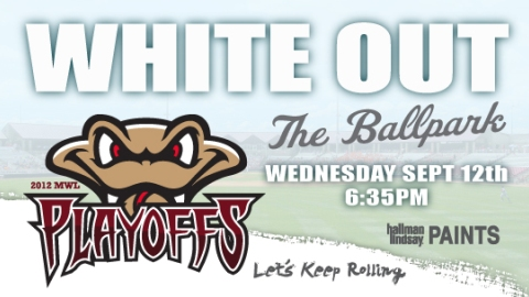 Come out to White-Out Wednesday for Game One of the Midwest League Championship Series on September 12.
