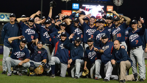 The 2012 Aces celebrate on the field at Werner Park in Omaha after winning the Pacific Coast League Championship Series, 3 games to 1.