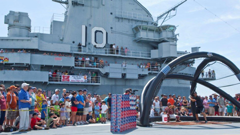 Part of the Sally League Home Run Derby was on the USS Yorktown.
