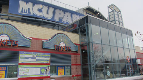 Two bodies of water flooded the Cyclones' MCU Park through the ticket windows.