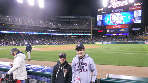 Mitchell Brown (left) and Alexander Flowers enjoy an up-close look at the 2012 World Series in Detroit as the PawSox again sent two youngsters from the Pawtucket Boys and Girls Club to the Fall Classic.