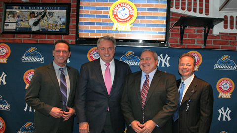 (L-R) Former Yankee David Cone, Church & Dwight CEO James Craigie, Mercer County Park Commission Executive Director Kevin Bannon, and Thunder President Joe Finley.