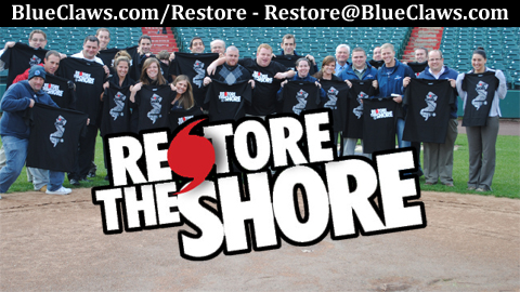 "BlueClaws staff members with their ""Restore The Shore"" shirts."