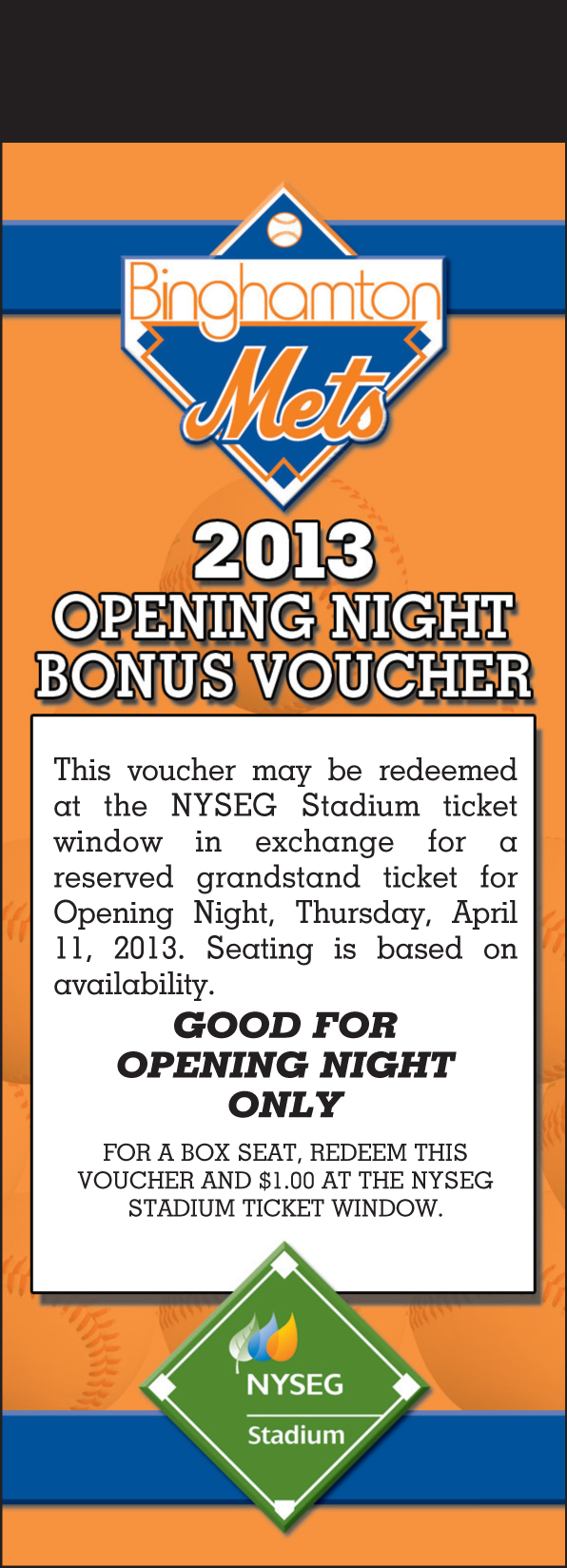 2012 Opening Day Bonus Voucher