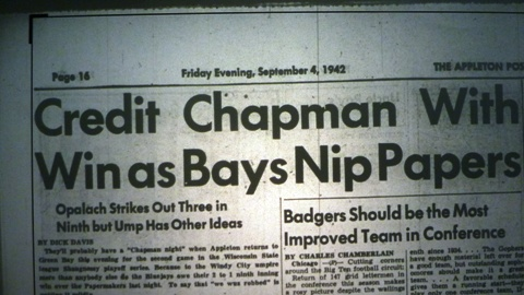 The headline from the September 4, 1942 edition of The Appleton Post-Crescent after Game One of the playoff series between the Appleton Papermakers and the Green Bay Bluejays.