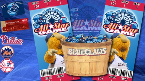 There are plenty of great gifts for anyone that books a Bushel of BlueClaws ticket package.