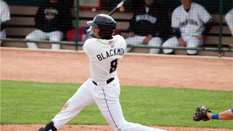 Sky Sox outfielder Charlie Blackmon has hit two home runs in eight career games against the Iowa Cubs.