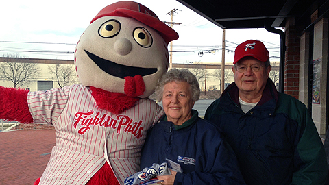 The Bechtels were the first Fightin Phils fans to purchase tickets on Wednesday morning.