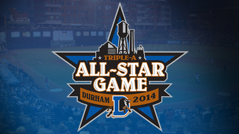 The 2014 Triple-A All-Star Game logo features depictions of iconic buildings of the Durham skyline.