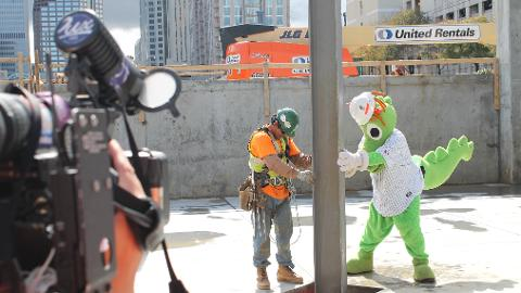 Homer the Dragon oversaw construction taking place at BB&T Ballpark.