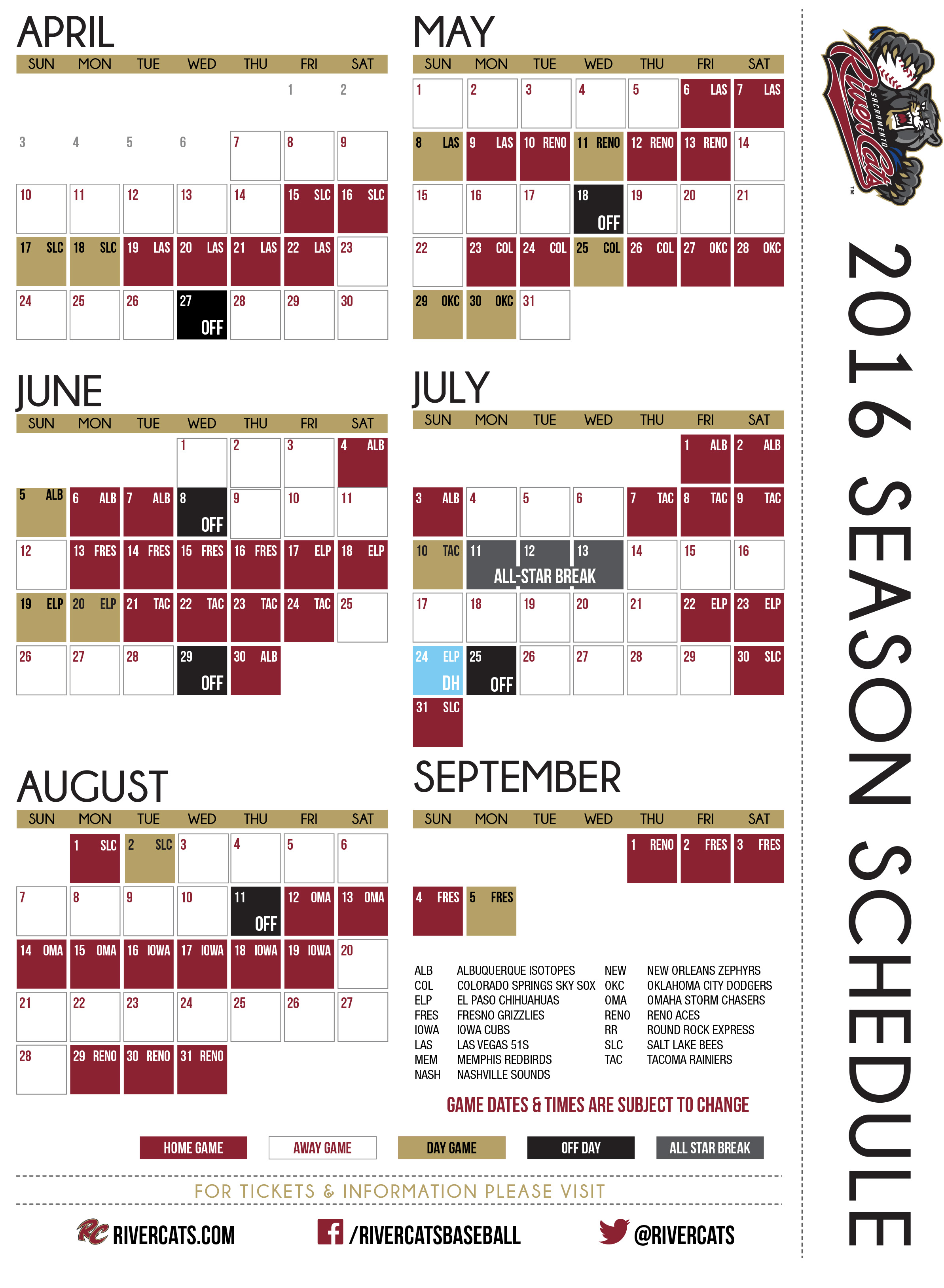 river cats unveil schedule for 2016 season | sacramento river cats news