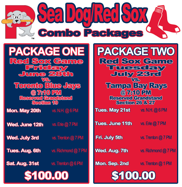 Sea Dogs Red Sox Combo Packs Portland Sea Dogs Tickets