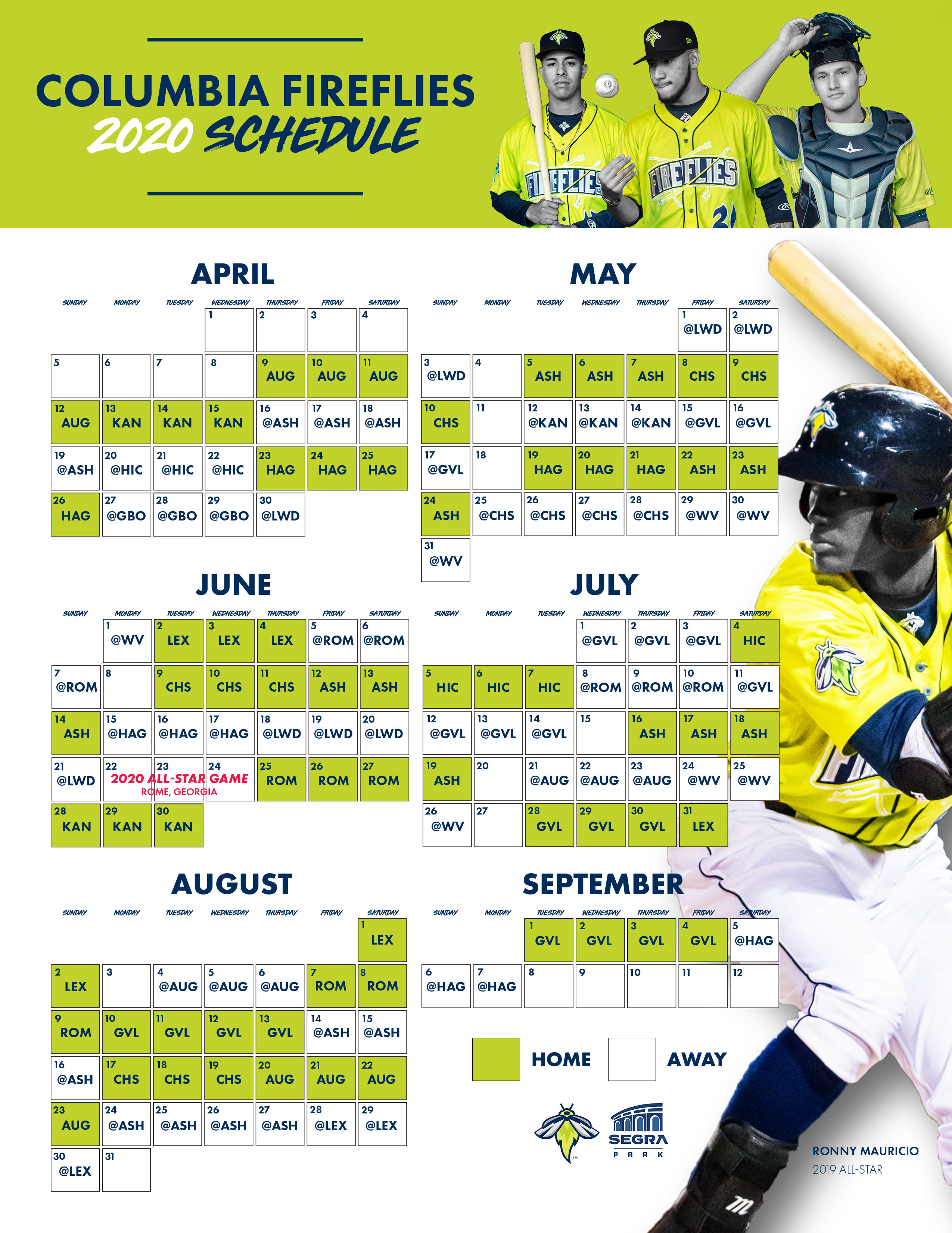 Giants Schedule 2020.Columbia Fireflies Release 2020 Season Schedule Columbia