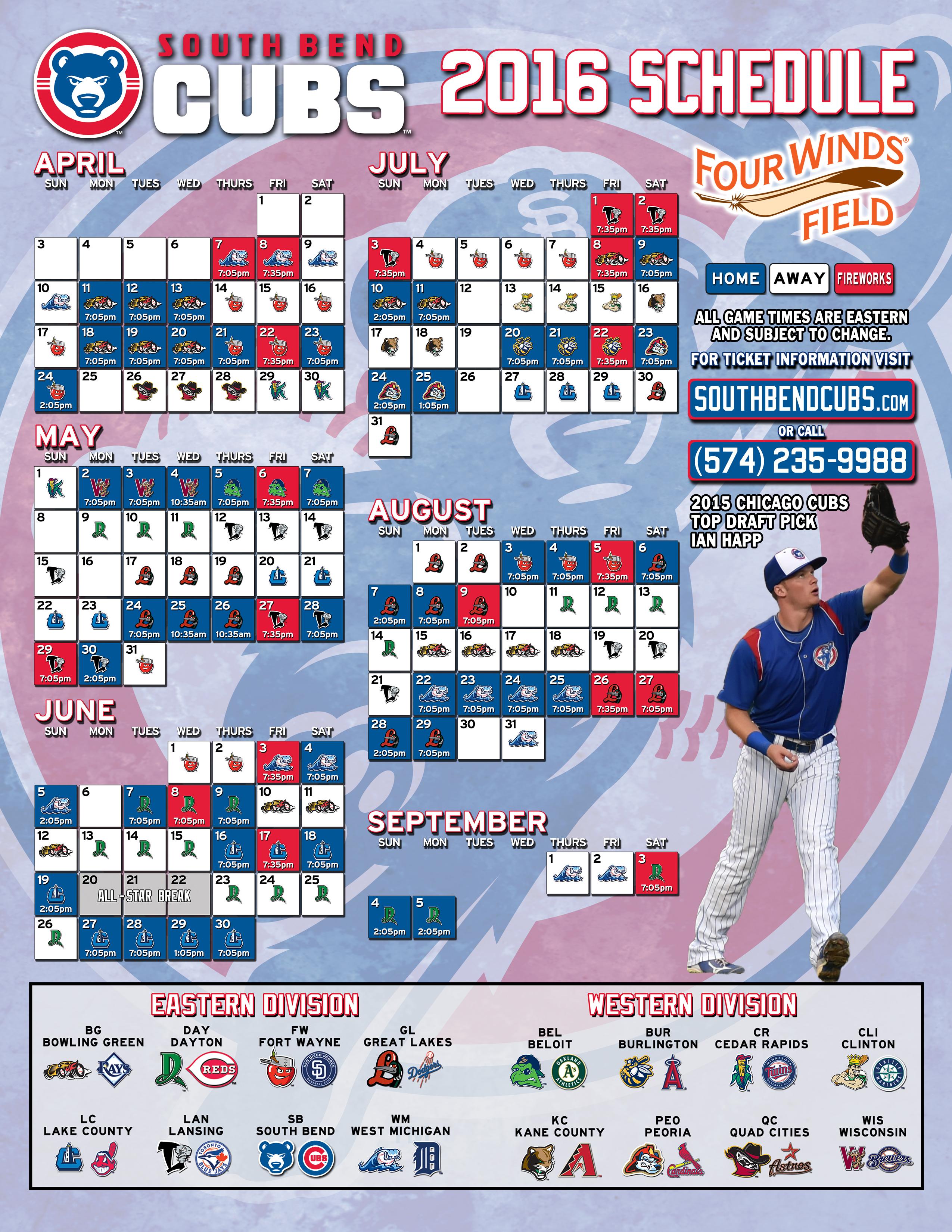 2016 South Bend Cubs Schedule - Bleed Cubbie Blue