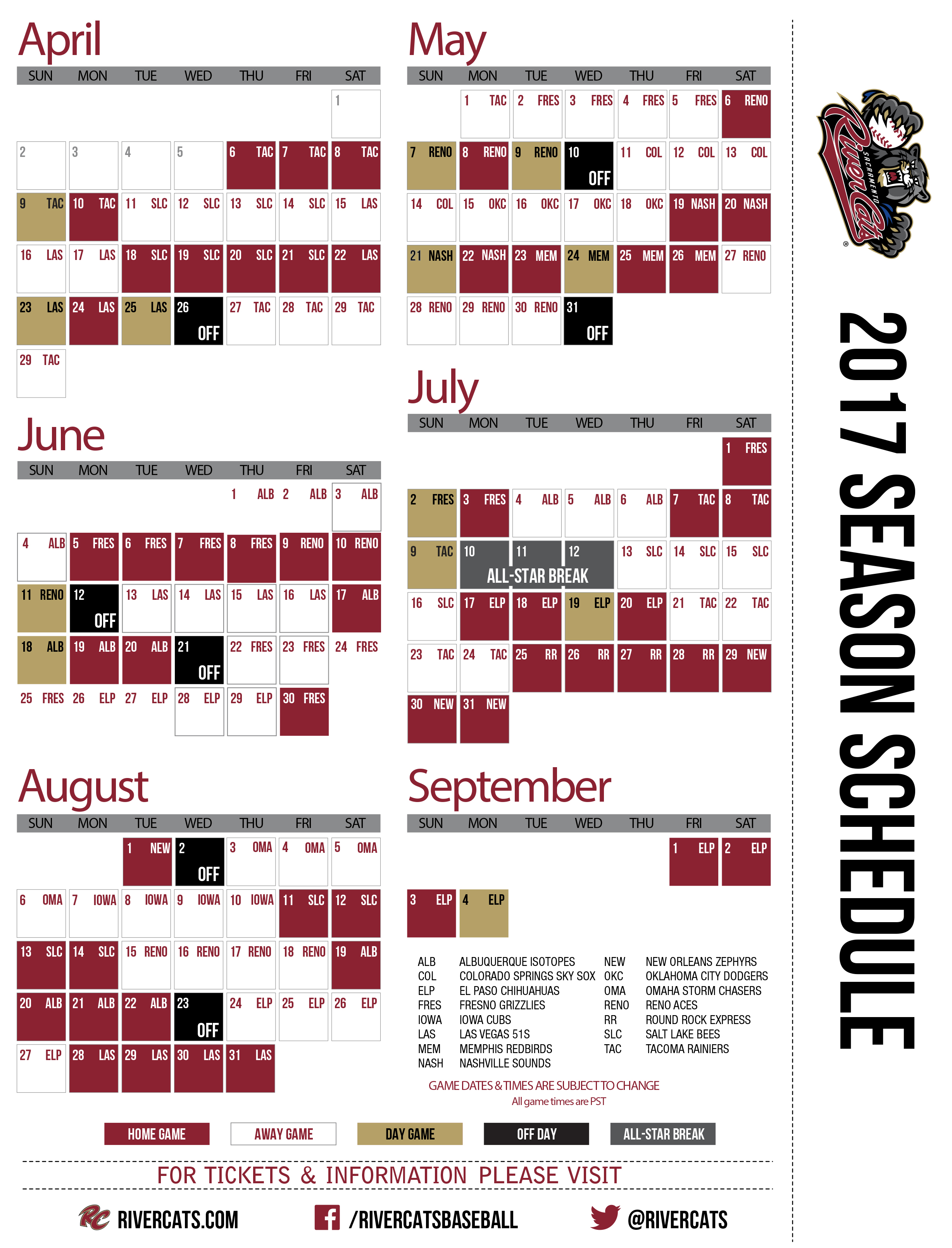 river cats unveil 2017 schedule | sacramento river cats news