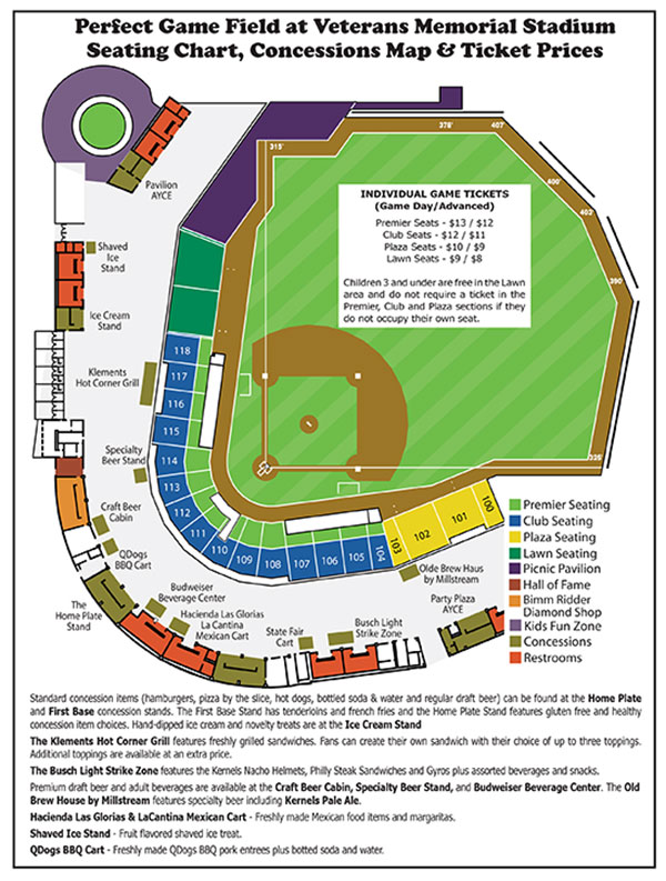 Seating Chart / Concessions Map | Cedar Rapids Kernels Perfect Game on