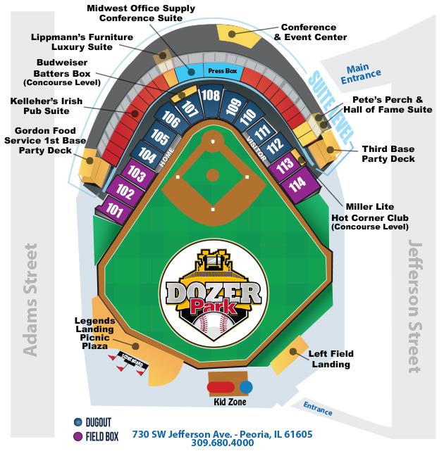 Stadium Seating Chart | Peoria Chiefs Dozer Park