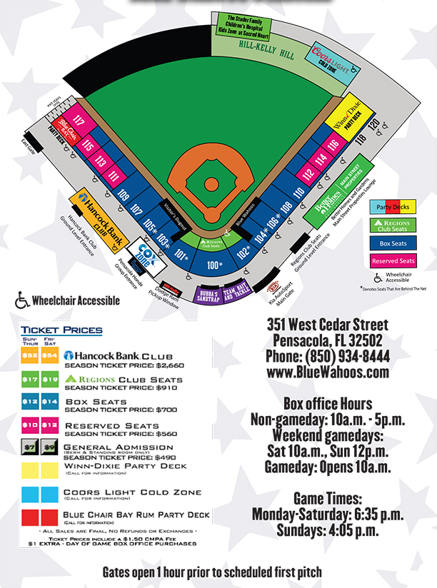Seating Chart And Ticket Prices Pensacola Blue Wahoos Content - Blue jays seating chart