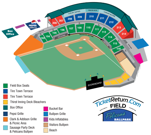 Seating map myrtle beach pelicans ticketreturn com field