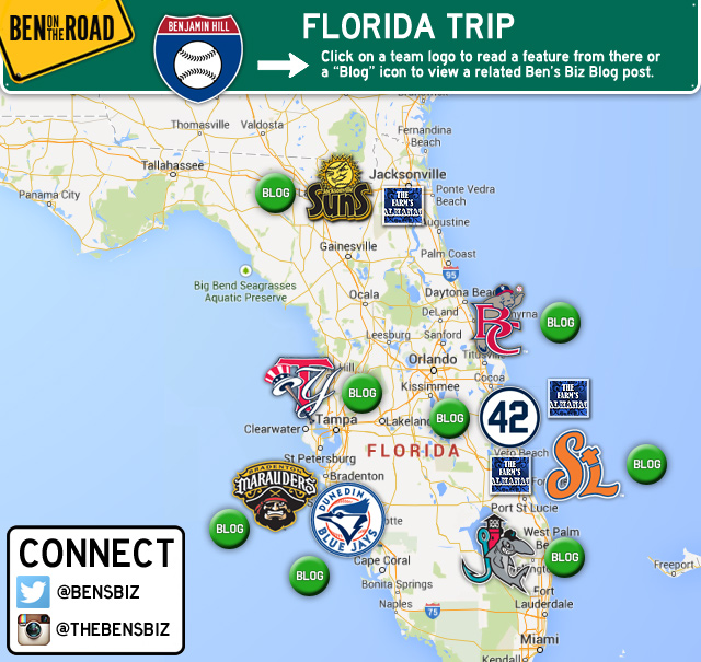 Map Of Florida West Coast.On The Road With Benjamin Hill Milb Com Mobile The Official Site