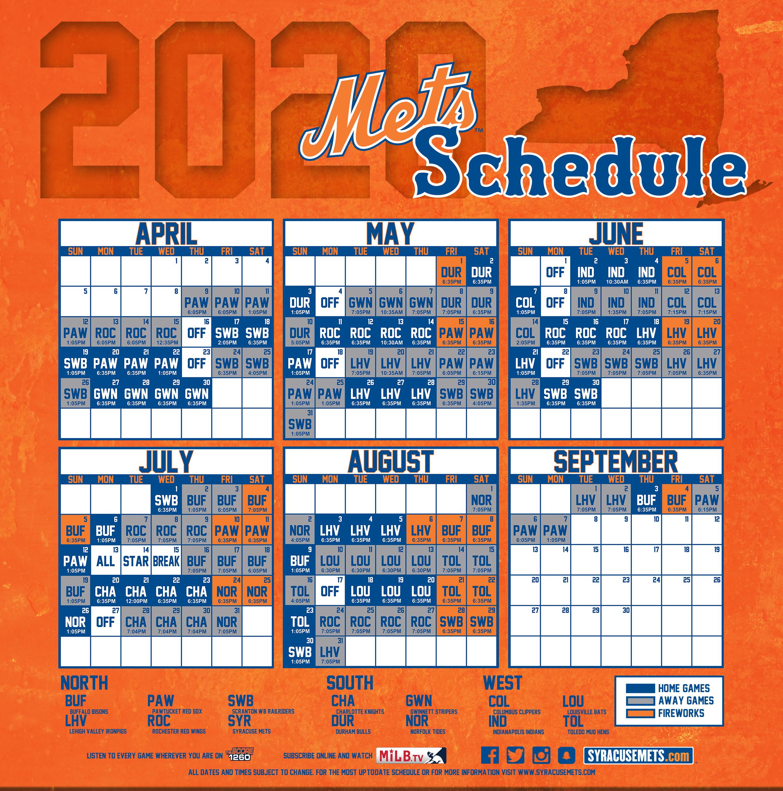 Mets 2020 Printable Schedule.Syracuse Mets Milb Com
