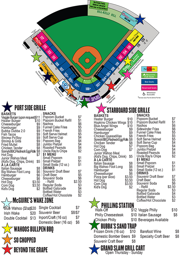Concession Map | Pensacola Blue Wahoos Content on