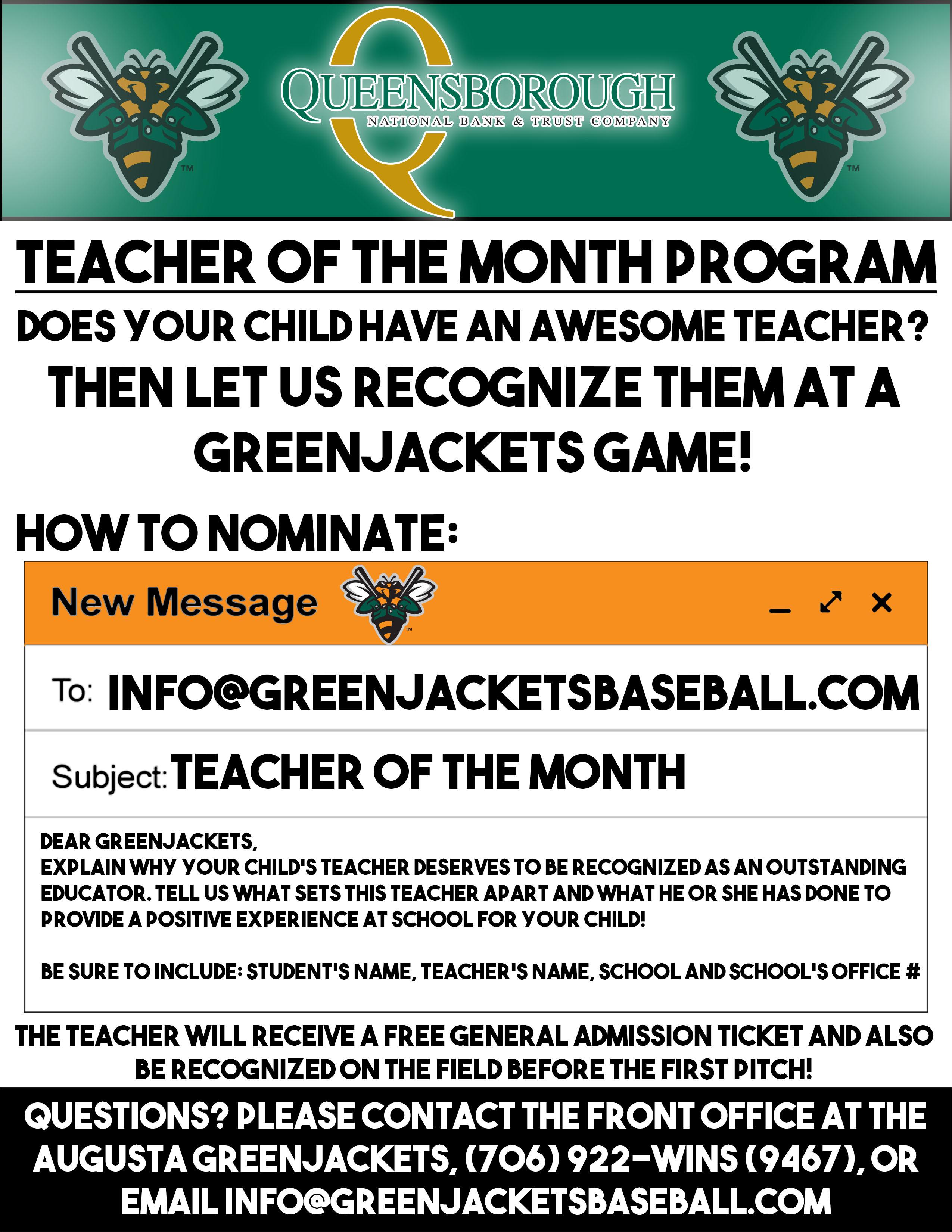 Queensborough Teacher of the Month | Augusta GreenJackets Community